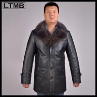 LTMB4648 Men's fashion leather coat with fox fur collar full sleeve medium length leather jacket new style 2014