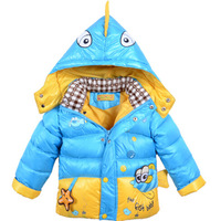 Children Clothing Cartoon Fish Printed Warm Jacket: Candy Color Cotton-padded Jacket Baby Wear 2014 New Winter Hooded Coats