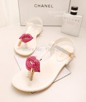 2014 Han edition clip toe flat sandals cool summer new diamond decoration sweet princess comfortable shoes flat