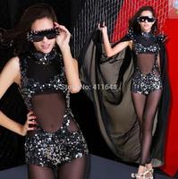 Sexy Womens Club Dance Costume Black See Through Bodysuit Sequins+Gauze Cloak XS S M Free Shipping