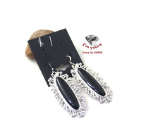 ED13478  Silver jewelry wholesale texture exaggerated black long earrings 2pcs/lot