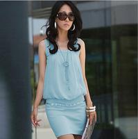Fold collar Pack hip OL commuter sleeveless knit dresses, sundresses