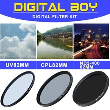 Camera & Photo! New brand CPL 82mm Polarizing +UV Fiter+ND2-400 Neutral Density filter kit Protector for Canon SONY nikon lens