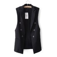 2 2014 spring women's suit collar large lapel medium-long all-match vest clip female