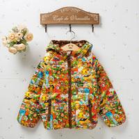Children's hooded padded jacket cartoon boys and girls padded children wear 2014 new winter down jacket