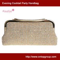 Metal frame mesh diamond studded women party handbag clutches