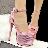 2014 summer Fashion brief  ultra thin heels high heels sandals for women party Tshow platform open toe cutout belt  sandals