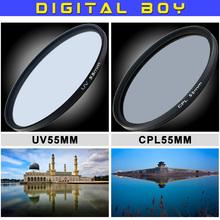 Camera & Photo  55mm CPL polarizing filter +55mm UV filters kit for dslr canon sony nikon d3100 d3200 d5100 Camera