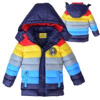 Top Quality Boys Striped Warm Down Coat: Children Boy Snow Wear Rainbow Color Hooded Jacket Padded  2014 New Winter Kid Outwear