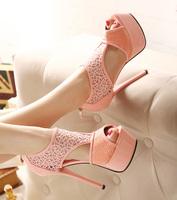 Free shipping Fashion normic 2014 cutout full heel ultra high heels platform sandals women's sexy club sandals shoes pink