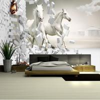 Large 3d white horse three-dimensional mural sofa embossed wallpaper living room wallpaper tv wallpaper