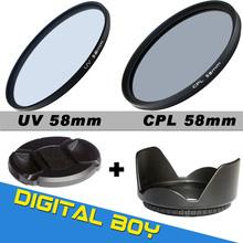 Camera & Photo! 58mm UV CPL ( Circular Polarizing ) Filter Kit + Lens hood + Cap For Canon NIKON Sony Olympus Camera