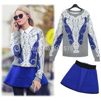 Popular Fashion Lady Spring Print Female pullover jacquard Sweatshirt Casual Three-dimensional Hoodies+ high waistSkirt 2pcs/Set