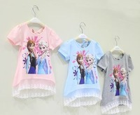 tunic 2-7yrs Girls' Frozen tops kid's 2014 cartoon summer tops girl's princess tees girl's lovable tees,children clothes