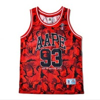 free shipping Bape  Europe and the   the tide brand  camouflage 3 color street 93 couples men's and women's basketball vests