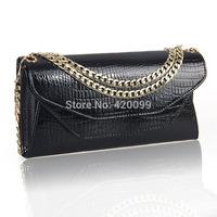 2014 new 100% genuine leather crocodile pattern clutch bag fashion ladies evening chain bag diagonal shoulder bag