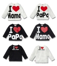Retail !! 9 M to 3 years100 cotton Baby Long sleeve T-shirt I love Mom and Dad  love Mother and Father  top Tees(China (Mainland))