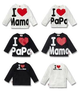 Розничная! 9 м до 3 years100 хлопка с длинным рукавом футболки я люблю мама и папа любовь мать и отец топ тройники