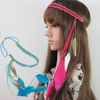 Wholesale 2014 6pc/lots new Korean double chain woven velvet ribbon color feather hair hoop headband leaf pendant