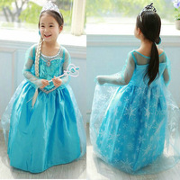 Retail+New 2014 Hot Sale Children girl party dress,Frozen Elsa Lovely dress,fashion summer Baby & kids one pieces,Baby Clothing
