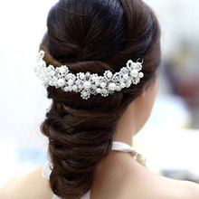 New FreeShipping Han edition hair White pearl crystal bride headdress by hand Wedding dress accessories bridal hair jewelry 1pcs