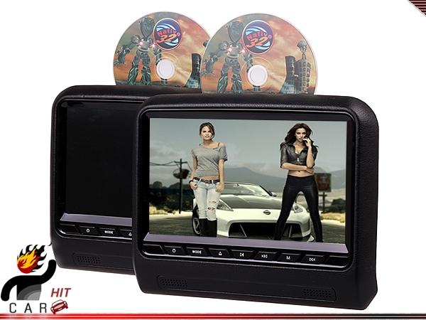 Pair 9 Inch Car Headrest Bracket Tablet Monitor DVD Player - FM IR SD USB Games(China (Mainland))