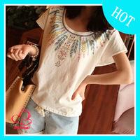 2014 summer brand bohemia women's feather print 100% cotton loose short-sleeve T-shirt