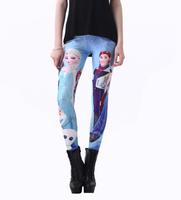 New 2014 Fitness Legging Women Cartoon Frozen Digital Print Leggins Female Leggings Girls Blue Fun Pants Drop Shipping S106-488