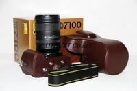 Retro Digital Camera Leather Case for Nikon D7100 - Coffee