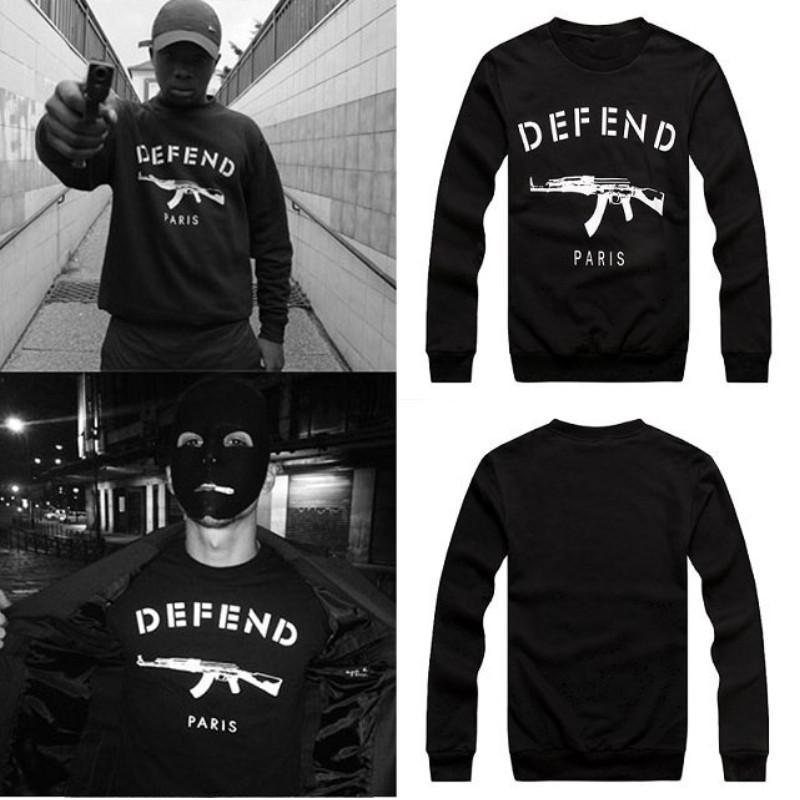 2014 New men women GIV DEFEND PARIS AK47 Automatic rifles print pullover Long-Sleeve Hiphop 3D Sweatshirts Hoodies sweats Tops(China (Mainland))