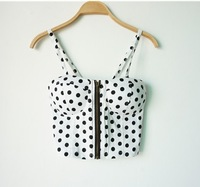 Sexy 100% cotton spaghetti crop top brand bustier crop top women top cropped Polka Dot