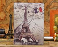 5PCS/lot New fashion luxury RetroParis Eiffel Tower US UK  Stand PU leather smart case  for Apple Ipad air/ipad 5 Free Shipping