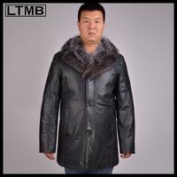 LTMB4651   Men's fashion leather overcoat with fox fur collar full sleeve regular length style  fashion  leather jacket 2014