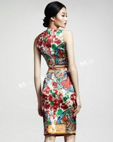 Free Shipping New Arrival 2014 Stunning Printed Sleeveless Pencil Dress 140603CT04