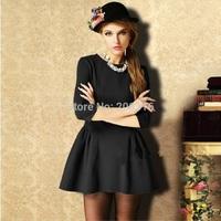 Elastic waist Slim simple stitching Sleeve Dress Free Ship Women Clothing