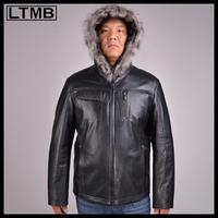 LTMB4652   Men's fashion leather jacket with hood  full sleeve short  style  fashion  leather coat 2014