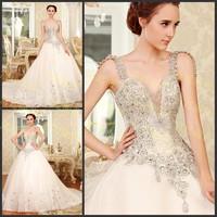 Luxury V-neck Spaghetti Straps Sleeveless Princess White Bowknot Lace Up Wedding Dress Crystal Bridal Gown(XNE-WD059)
