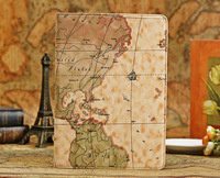 3PCS/Lot Retro Style World Map Style Leather Navigation map Stand Case Cover for Apple iPad air 5 Free Shipping