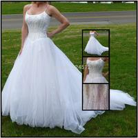 Fashion Real Sample Sexy A-Line Spaghetti Straps Wedding Dress Lace Tulle White Wedding Gown Robe De Mariage