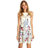 2014 New Women Ladies Fashion Butterfly Print Flowers Sleeveless Mini Dress Slim Fitted Sexy Backless Vestidos Club Evening A569