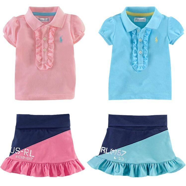 free shipping Polo Sport skirts set casual 2pcs/lot short sleeve T-shirt Skirt set girls summer clothing sets baby kids suits(China (Mainland))