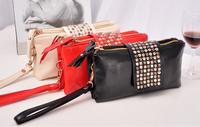 2014 NEW ARRIVAL Free Shipping Fashion Women Handbag Rivet Bag European and American Style Messenger Bag Clutch Bag Casual Bag
