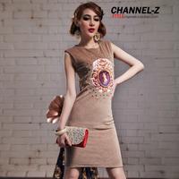 Channel-z 2014 new fashion royal bag buckle bubble lantern sleeve plush sexy slim hip novelty vintage party dress bodycon
