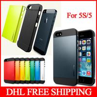 PC+Silicone SGP SPIGEN SGP Slim Armor Color Case For Iphone 5 5G 5S Factory Price 13 colors Free Shipping DHL 200pcs/lot