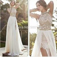 2014 Julie Vino Halter Lace Bodice Appliqued Sleeveless Evening Dresses