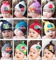 Free Shipping 5pcs/ lot 12 designs Baby Cotton hats double Layer flower cap autumn Winter hat infant Christmas cap headgear