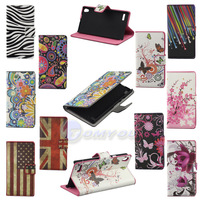 New Arrival Original Brand Flower & Butterfly & Flag PU Leather Case For Huawei Ascend P6 Vertical Flip Skin Cover Free Shipping