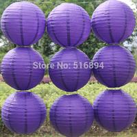 The lampshade 10pcs/lot 8''(20cm) Round paper lantern Plum purple paper lanterns lamps festival wedding decoration party lantern