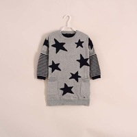 2014 new fashion little girl stars striped long sweater