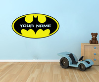 Personalised BATMAN LOGO Decal  - Say Quote Word Lettering Art Vinyl Sticker Decal Home Decor Words
